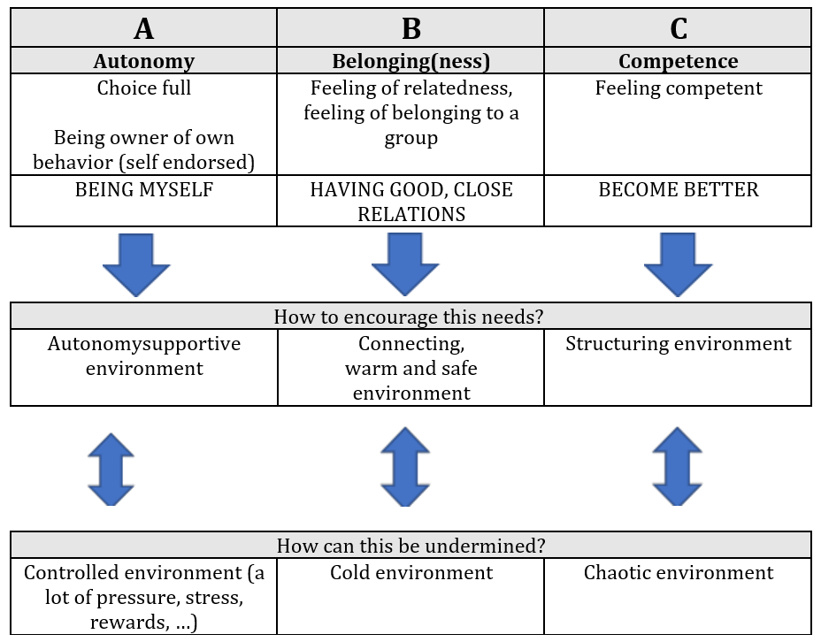 Figure 2: ABC of the selfdetermination theory, inspired by Aelterman, De Muynck, Haerens & Vande Broek (2017)